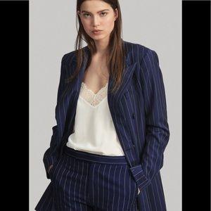 NWOT Ralph Lauren navy pinstripe wool blazer 16